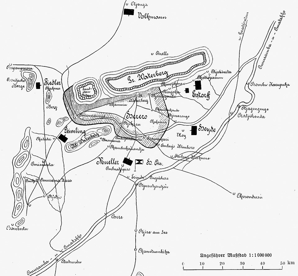 Sketch of the German deployment and the Herero emplacements at the Waterberg